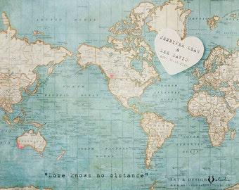 World Map Art Print, Destination Wedding Gift, Traveller Lovers Gift, Anniversary Present, Custom Engagement Gift, Personalized Art