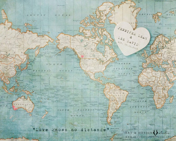 Map Art Wedding Gift : World Map Art Print, Destination Wedding Gift, Traveller Lovers Gift ...