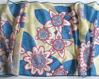 Blue and red flowers on sand background - long hand painted silk scarf