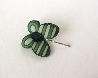 Forest green silk butterfly - Green striped natural silk hair pin -  hand painted silk hair bobby pin