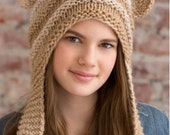 Knitting Pattern Teddy Bear Hat Instant Download Knitting Pattern Bear Ear Flap Hat Animal Hat