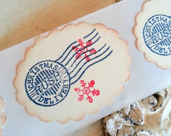 Christmas Stickers Christmas Labels Red and Blue Patriotic Christmas Holiday Stickers Seals Christmas Postmark