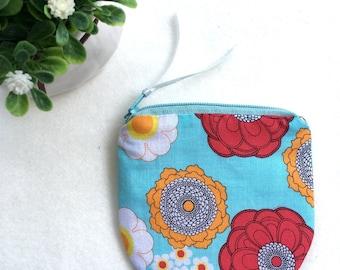 Vintage Floral/ Zipper Coin purse/ Cute Mini zipper Coin pouch/ Vintage Change Purse