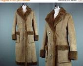 40% OFF Sheepskin Coat Vintage Dark Brown Vintage 80s 1980s Long Winter Boho Shearling XS S M Small Medium