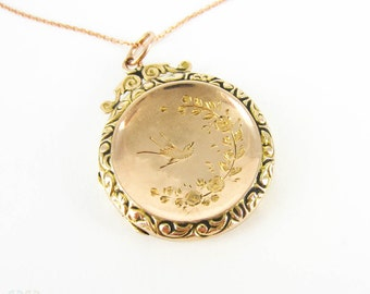 Antique Photograph Locket, Engraved Birds in Flight & Floral Design Circular Locket. 9ct Gold Two-Tone Front and Back on 9k Rose Gold Chain.