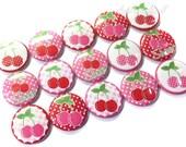"""Cherry 1"""" Buttons, Cherry Buttons, Cherry Pins, Cherry Party Favors, Cherry Flatbacks, Cherry Pinbacks, Cherry Magnets, Cherries, Cherry Pin"""