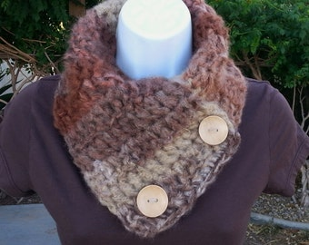 NECK WARMER Scarf, Buttoned Cowl, Natural Beige Taupe Brown Rust, Large Wood Buttons, OOAK Soft Striped Winter Crochet Knit..Ready to Ship