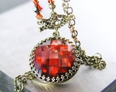 Hot Red Crystal Necklace Antique Gold Brass Necklace Red Swarovski Crystal Pendant Necklace Blood Red Necklace Vintage Style Jewelry