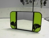 Stained Glass Countertop Mirror in Lim Green w Floral Overlay