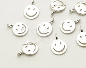 SV-136-SS / 2 Pcs - Smiley Face Charm Pendant in 92.5 Sterling Silver, Smile Charm (Small Size), 925 Sterling Silver / 6mm