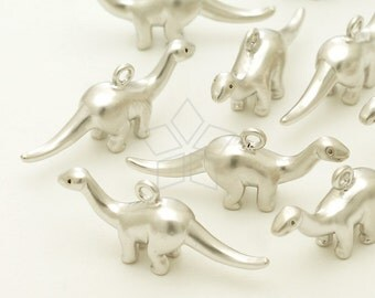 PD-1362-MS / 2 Pcs - Apatosaurus Dinosaur Pendant, Dino Charm, Matte Silver Plated over Brass / 22mm x 10mm