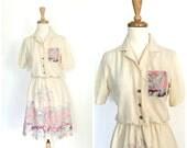 Vintage 70s Dress - shirtwaist - novelty dress - white dress - resort wear - bird print - knee length - S M
