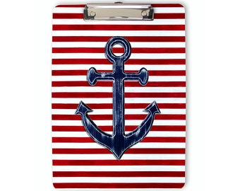 Nautical Clipboard, navy blue anchor, striped clipboard, flat clip clipboard, clip board, office accessory, office supplies, office gift