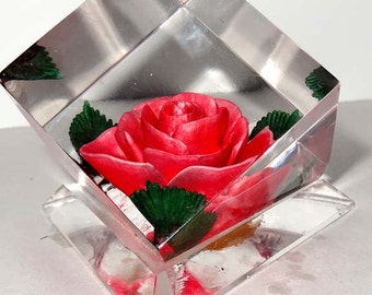 Hand Carved Pink Rose Encased in Resin Huntington Indiana USA Paperweight Office Supplies Paper Handling Paperweights