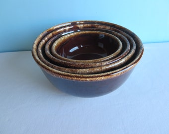 Vintage Brown Mixing Bowls - Nesting Bowls - Kathy Kale USA - Brown Drip Glaze  - Set of 4 - Retro Kitchen