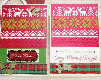 Christmas Cards - Christmas Sweaters Warm Wishes or Cozy Warm and Bright