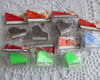 Vintage Dime Store Toy Piano Empress Play Time Toys Plastic Brown Green Blue Small Tiny Lot of 7