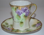 Pretty purple violet cup and saucer - porcelain teacup vintage - hand painted flowers - violets