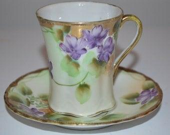 Pretty purple violet cup and saucer - porcelain teacup vintage - hand painted flowers - violets