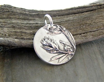 Flower Children No. 1, Petite Fine Silver Pendant, Natural Plant Reproduction, Wildflowers, Handmade by SilverWishes