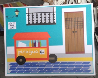Puerto Rico, Old San Juan houses note cards, piraguero, calle de la Luna illustration