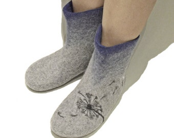 Dandelion women booties - Grey house boots - Light house slippers
