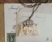 Shabby Chic Necklace, Floral Rhinestone Necklace, Collage Pendant Made From Repurposed Vintage Jewelry, Unique Gift Ideas for Her