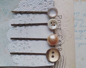 Hair Pin Set Made With Vintage Buttons, Button Bobby Pins in Romantic, Shabby Chic Hues, Patel Hair Pins for Women