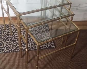 Faux Bamboo Nesting Table/ Glass Tops