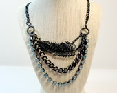 The Raven - Multi Strand Black Feather Necklace