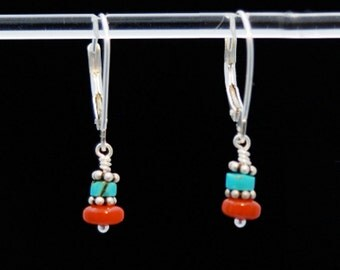 Turquoise Red Coral and Silver earrings / Turquoise and Coral earrings / Turquoise earrings / Coral earrings / PROTECTED STRENGTH