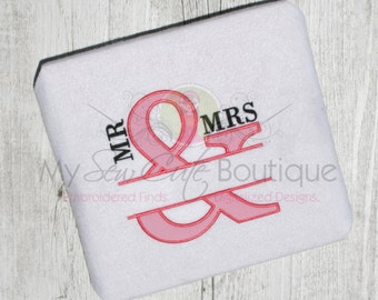 Mr & Mrs Wedding Appliqué Embroidery Design - 12 Sizes - Instant Download
