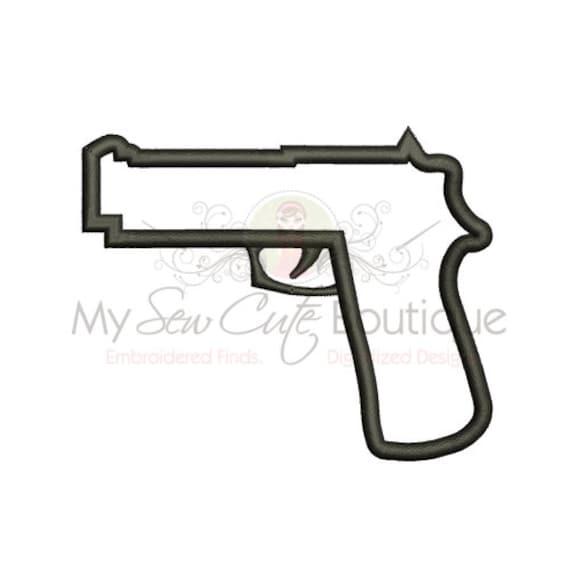 Gun applique design machine embroidery