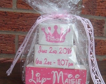 Shabby chic solid pine newborn princess personalized gift set wooden blocks shelf sitters