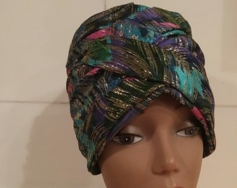 Vintage Metallic Whimsical Gypsy Turban Hat