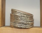 Multi-Strand Wrap Leather Bracelet, Shiny Pale Gold Genuine Leather Cuff