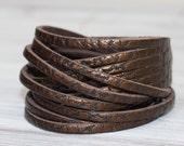 Wrap  Cuff Bracelet, Metallic Brown Genuine Leather , Multi-Strand Leather Bangle
