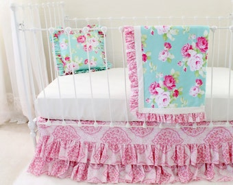 Pink and Aqua Shabby Chic Roses Crib Bedding, Baby Girl Bedding Set for a Unique, Custom Nursery with Bumperless Baby Bedding - Morning Rose