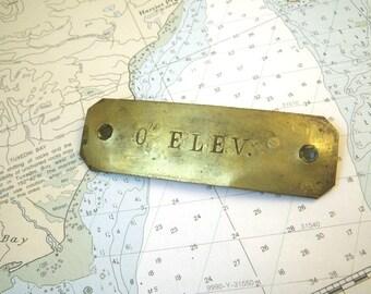 """0"""" Elev. Car Brass Sign Plate 2 1/4"""" Reverse Side Elevation Elevator"""