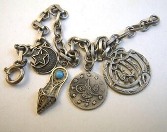 Turkish Silver Charm Bracelet - Four Charms