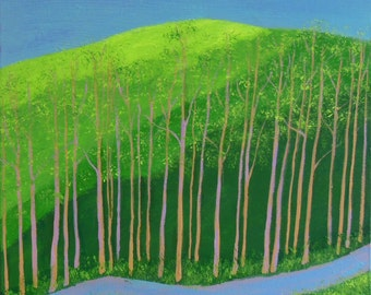 spring landscape, mountain in spring, bright green mountain and woods, spring woods painting, titled follow the light, FREE shipping in US