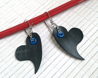 Riveted Heart Earrings - upcycled black innertube jewelry