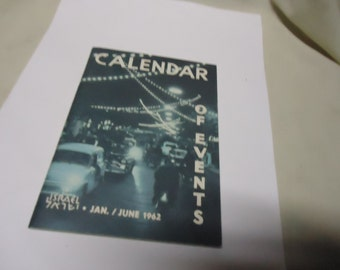 Vintage January 1962 Calendar Of Events Israel Tour Guide Booklet, collectable
