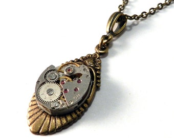 Steampunk Necklace - Petite Vintage Watch Movement Art Deco Pendant Brass - Ruby Jewels on Brass Victorian Pendant - Steampunk Jewelry
