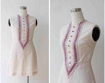 1960's Vintage Mod Dress Embroidered Mini Dress Small Pastel Scooter Dress Powder Pink A line Sleeveless Dress S