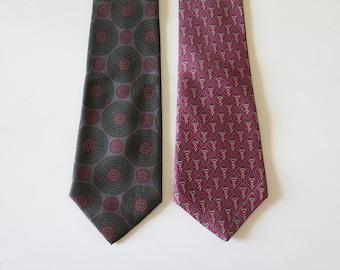 Gift for Him. Italian SILK Neckties Vintage Men's Designer Ties Chain Paisley Ethnic Pattern Neck-Ties