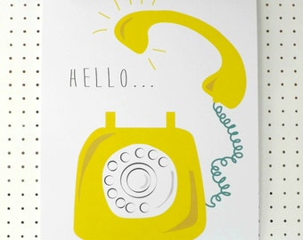 Yellow Retro Telephone Print A3 Hello Poster