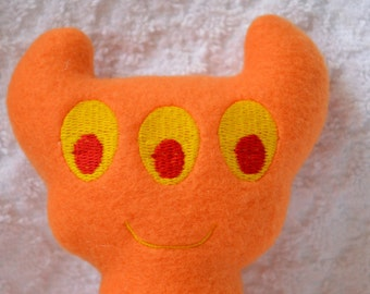 Handmade Stuffed orange Horned Monster - Fleece, Child Friendly machine washable softie plush