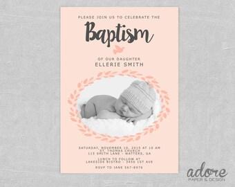 Pink Printable Baptism Invitation
