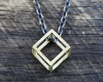 Mens Gold Necklace Geometric Cube Pendant Antique Brass Man Jewelry